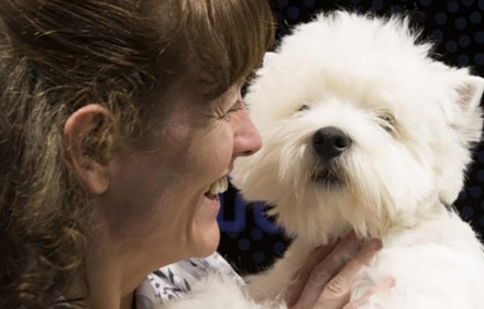 Marie Burns from County Durham with West Highland White Terrier, Ch Burneze Geordie Girl
