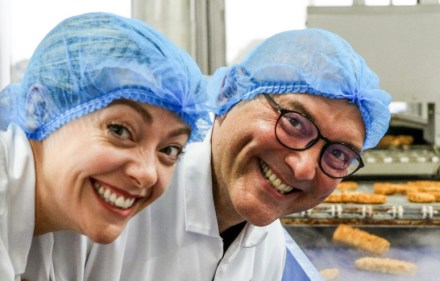 Cherry Healey, Gregg Wallace in fish fingers factory