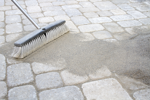 a quick paver sand stain fix