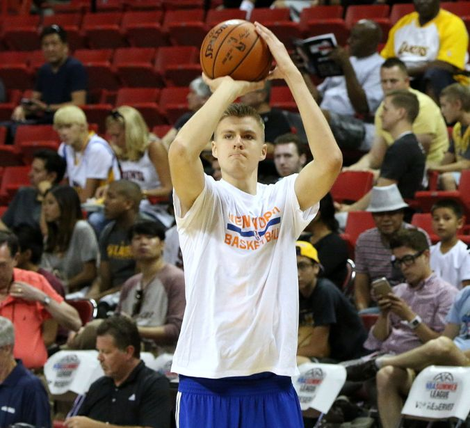 Kristaps Porzingis is one of the leading candidates for Rookie of the Year so far this season. (Ed/Wikimedia Commons)