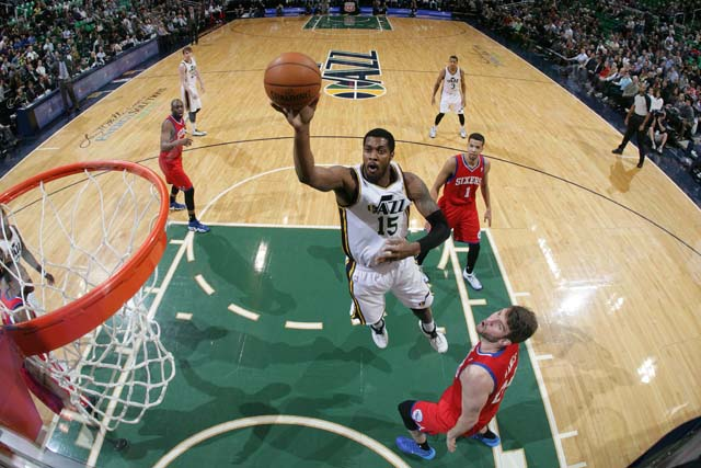 Derrick Favors is one of the young core players for the Utah Jazz who they hope to lead them to continued improvements in the future. (sixersphotos/flickr)