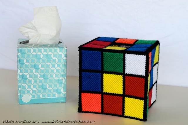Rubik's Cube Tissue Box Cover instructions - as seen on The Big Bang Theory