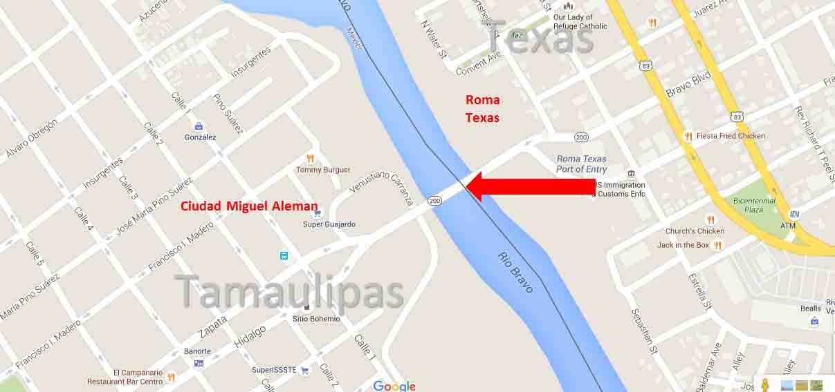 Map Of Texas Mexico Border Towns.Roma Texas Ciudad Miguel Aleman Tamaulipas Border Crossing
