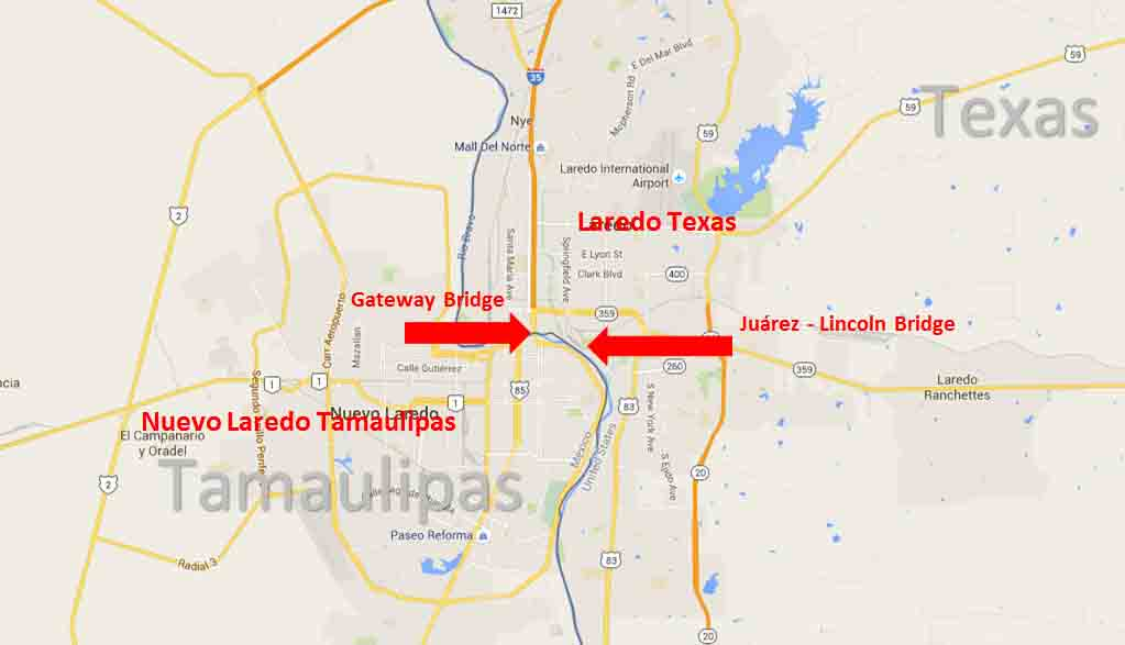Map Of Texas Showing Laredo.Laredo Texas Nuevo Laredo Tamaulipas Border Crossing On The