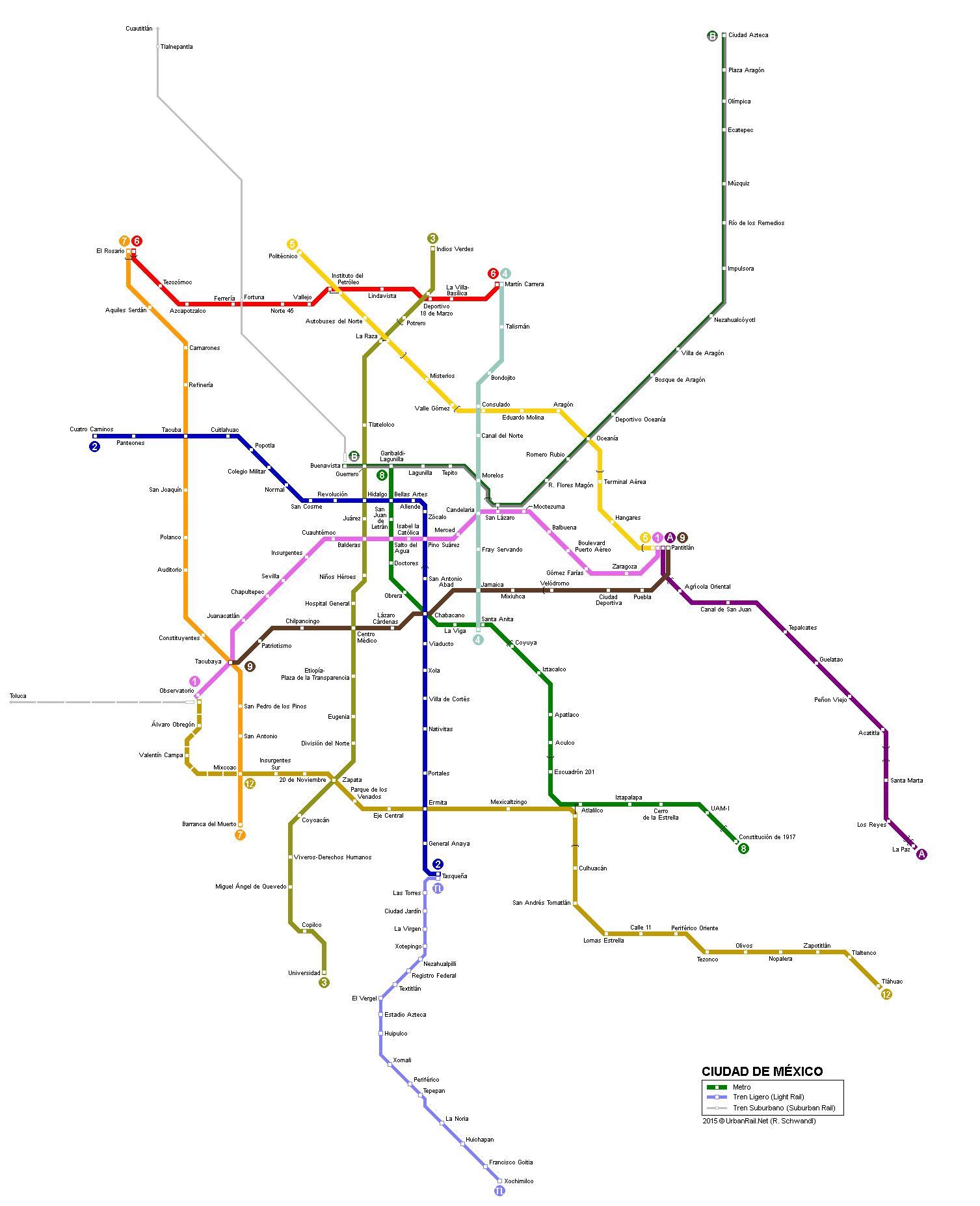 City Subway Map.Mexico City Subway Map