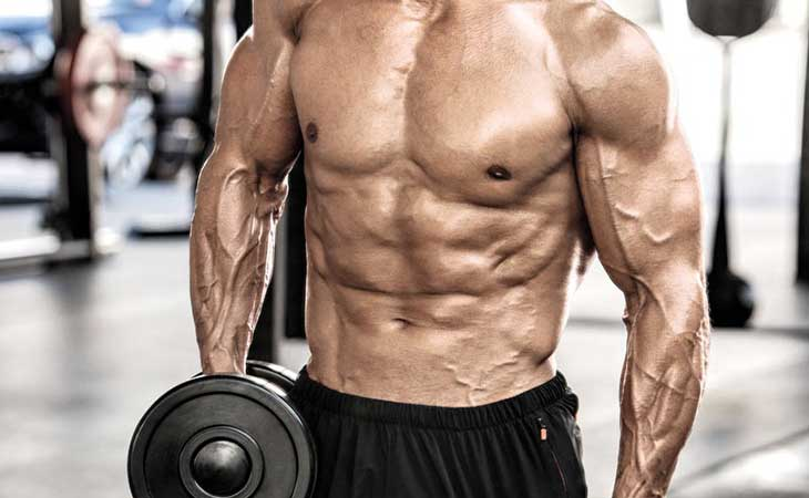 Man Working Out Chest Dumbbell Crossover Shrug