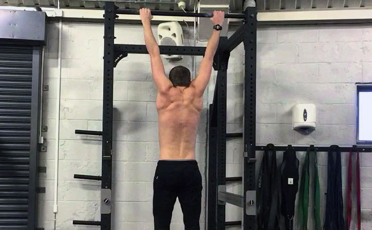 Man Working Out Scap Pull Ups