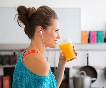 Woman Drinking Vitamin C Strong Immune System
