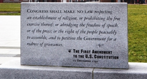 Inscription of the First Amendment at Independence Hall in Philadelphia. Photo by Robin Klein