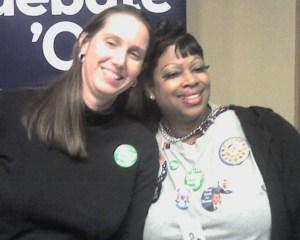 Kimberly and Anita. Found a friend to wear a Cynthia button