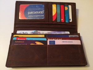 Leather wallet card slots