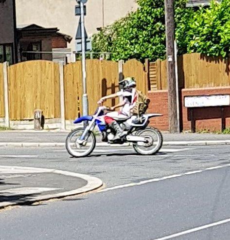 Blue and white bike