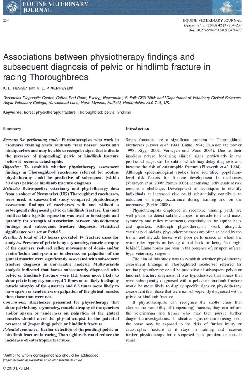 Associations between physiotherapy findings and subsequent diagnosis of pelvic or hindlimb fracture in racing Thoroughbreds