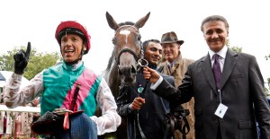 Frankie Dettori, Enable, John Gosden and Prince Ahmed bin Khalid, son of owner Prince Khalid Abdullah