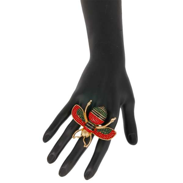 fbb5b584e Gucci Style Green and Red Rhinestone Bee Stretch Ring – OnTrend ...