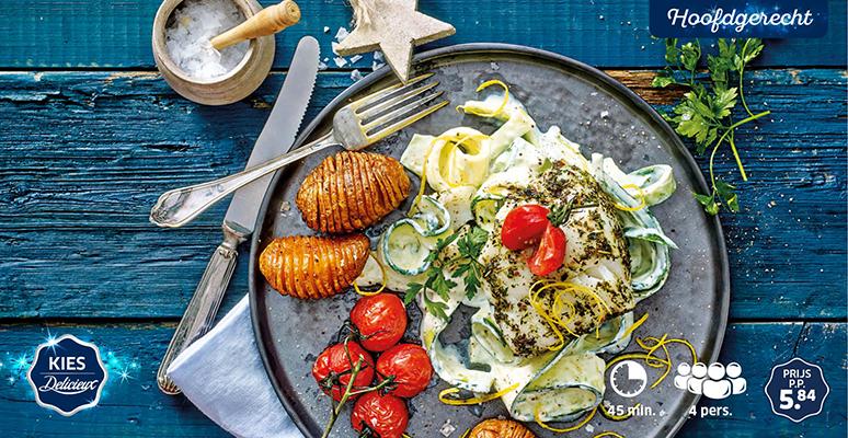 Kabeljauwhaasjes op courgettepasta met citroen-roomsaus