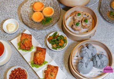 Paradise Teochew Innovative HK Dim Sum features Pan-fried Siew Mai with Foie Gras Sauce and Steamed Black Truffle Char Siew Bun
