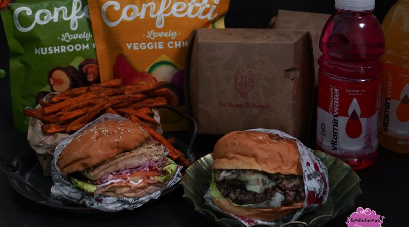 WOLF Burgers' Plant-based Set with Miso Tofu or Impossible/Beyond Meat & Confetti Vegetable Chips for a healthier meal