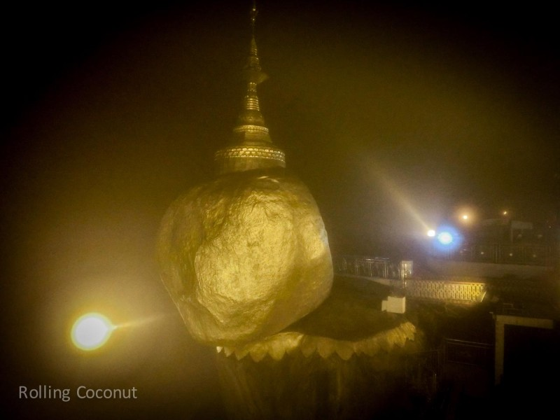 Myanmar Itinerary Kyaiktiyo Golden Rock Night Light Rolling Coconut Ooaworld Photo Ooaworld