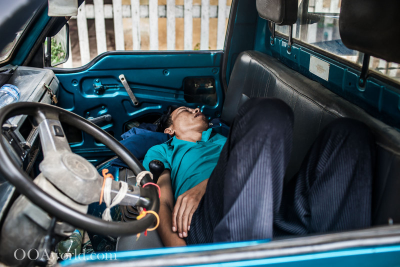 Sleeping Driver Luang Prabang Photo Ooaworld