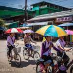 Vang Vieng Bicycle Umbrellas Photo Ooaworld
