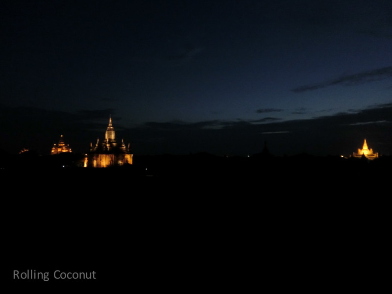 Lights on Temples Night Bagan Myanmar Ooaworld Rolling Coconut Photo Ooaworld
