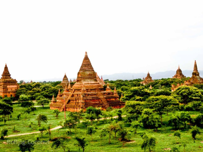 Myanmar Itinerary Bagan Temple View Rolling Coconut Ooaworld Photo Ooaworld