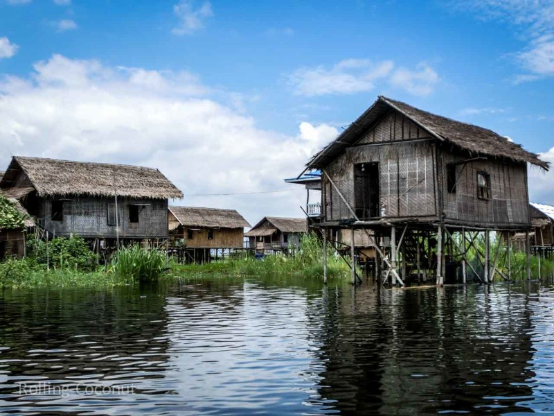 Houses on the Water, Inle Lake ooaworld Rolling Coconut Photo Ooaworld