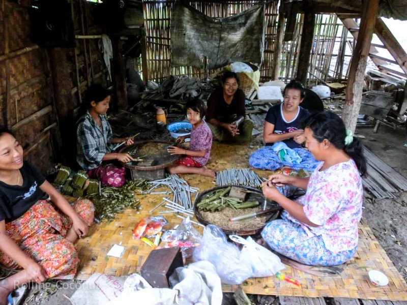 Women making Cigars, Inle Lake, Myanmar ooaworld Rolling Coconut Photo Ooaworld