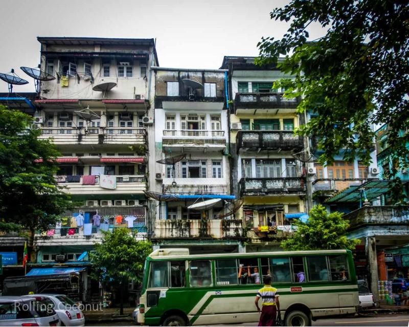 Apartment Buildings Yangon Myanmar ooaworld Rolling Coconut Photo Ooaworld