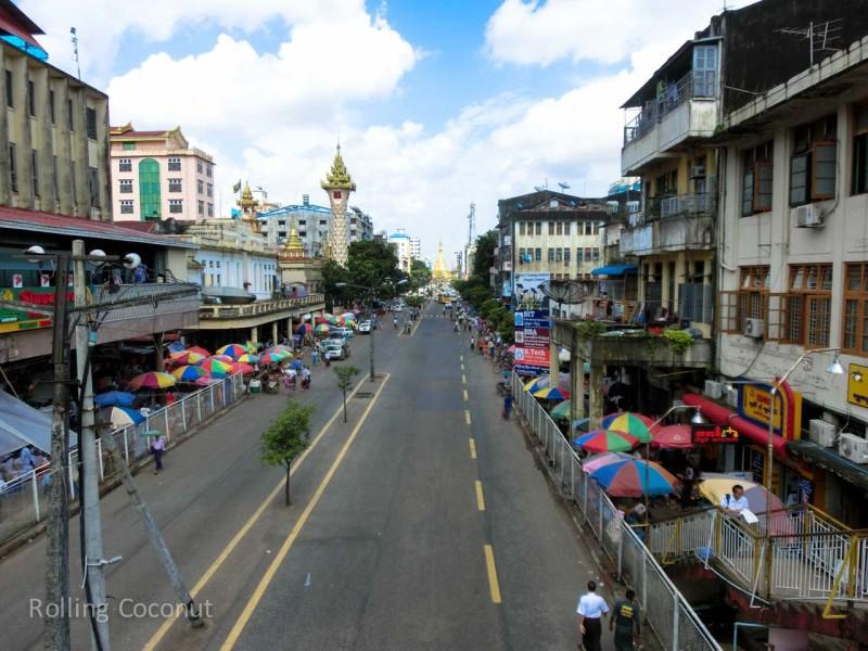 Streets Sule Pagoda Yangon Myanmar ooaworld Rolling Coconut Photo Ooaworld