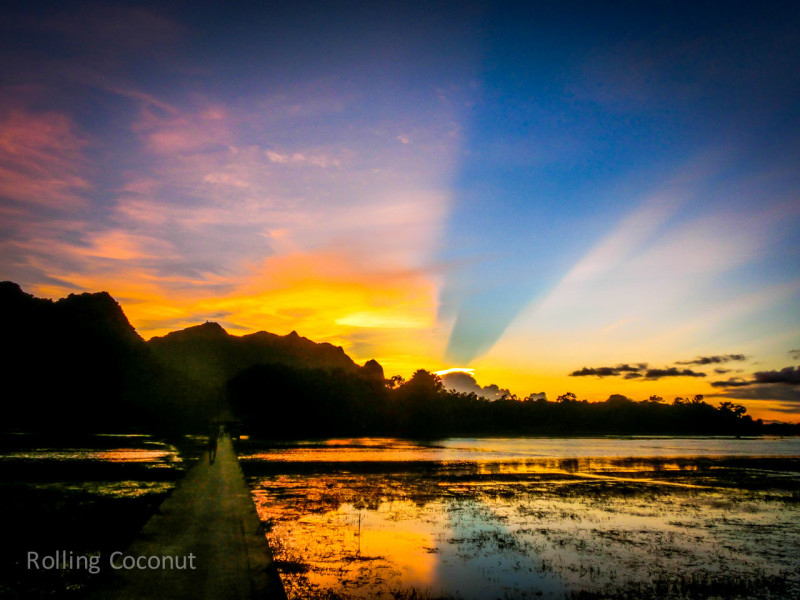 Sunset in Hpa An Myanmar ooaworld Rolling Coconut Photo Ooaworld