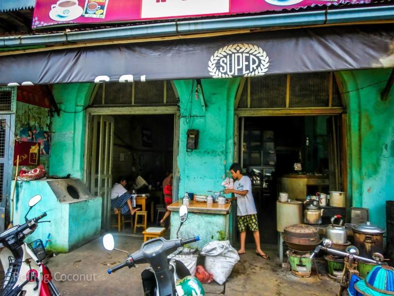 Mawlamyine Coffee Shop next To Aurora hotel ooaworld Rolling Coconut Photo Ooaworld