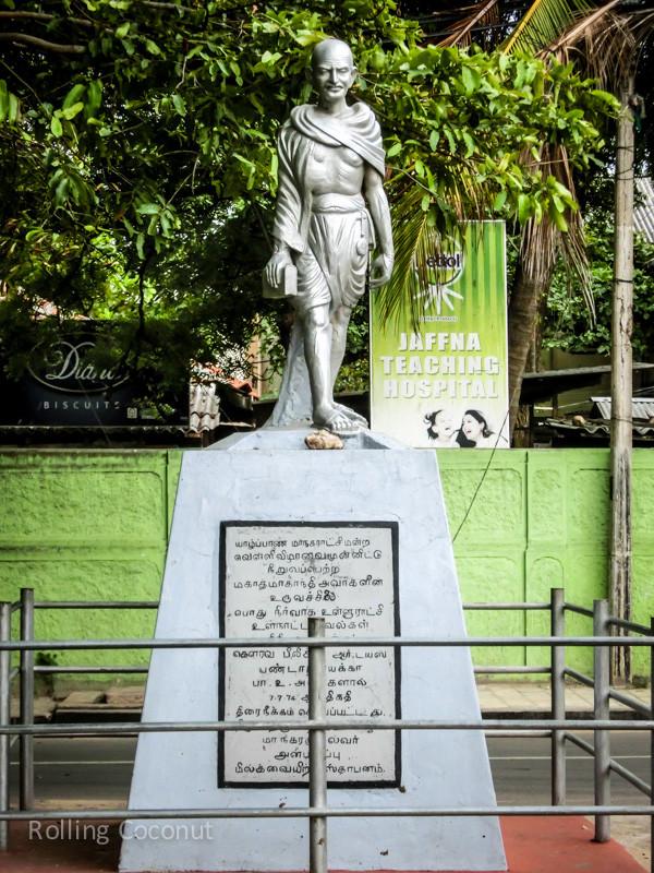 Gandhi Statue Jaffna Sri Lanka ooaworld Rolling Coconut Photo Ooaworld