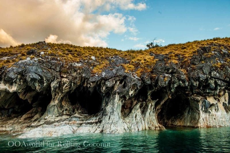 Puerto Rio Tranquilo Chile Marble Cave without entrance Rolling Coconut OOAworld Photo Ooaworld