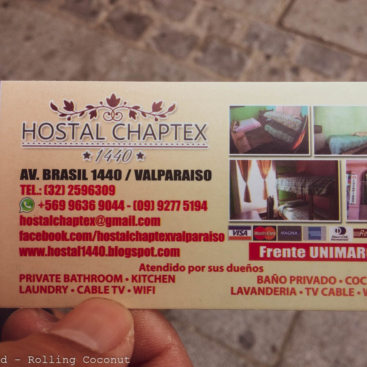 Hostal Chaptex Card Valparaiso Chile Photo Rolling Coconut Ooaworld