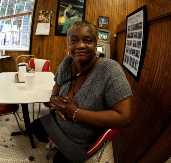 Portrait of a woman in a diner, New Orleans