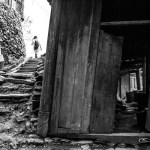 A door, steps, a silhouette, Longsheng China