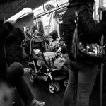 Subway scene, NYC, New York, black and white