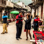 Chinese tourists visit the rural villages near Yangshuo
