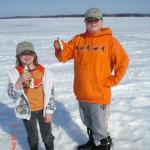 Caleb Pearson and Mathew Marcil had a fun day catching lots of perch while ice fishing with their uncle Steve.