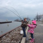 Connor,8, and Brooke,6, perch fishing in Belle River.