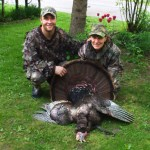 """Vickie Bouman shot her first Tom, weighing 25lbs with a 12"""" beard on a hunt with her son Travis Bentley. Great bird Vickie!"""