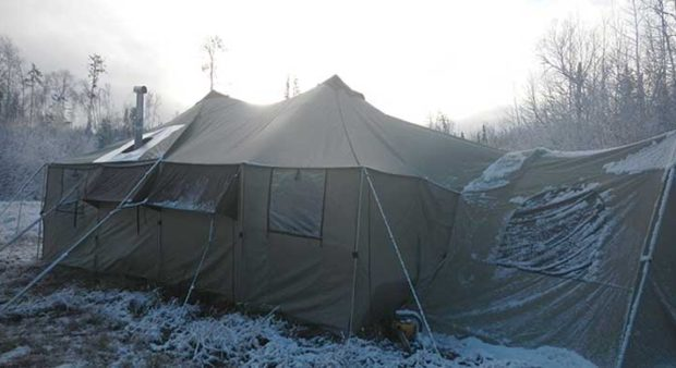 tent set up for a moose camp