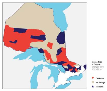 Changes to moose tag quotas for 2013 compared with 2014.