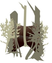 DIY ground blind - trees with cloth and camo