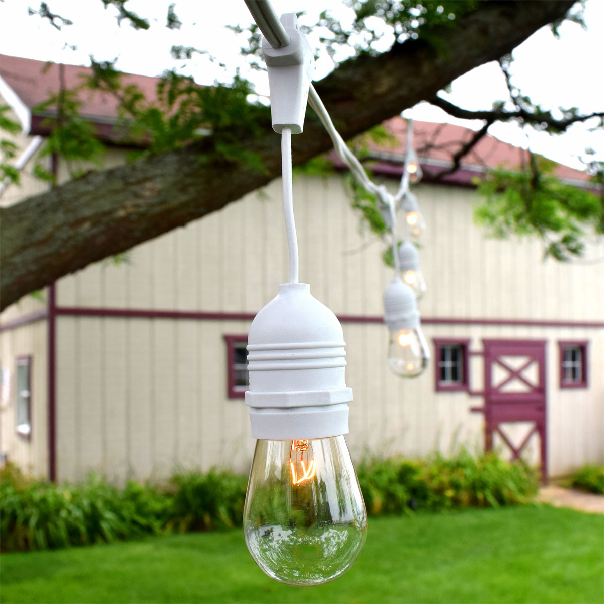 54 patio string lights s14 clear glass bulbs white suspended