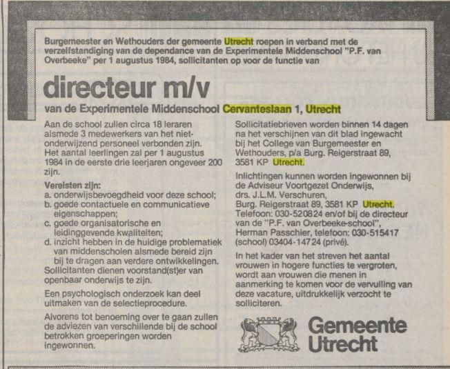 0fba294727b Nieuwe directeur gevraagd voor de Middenschool De Witte Raaf aan de  Cervanteslaan, Volkskrant 14 januari 1984