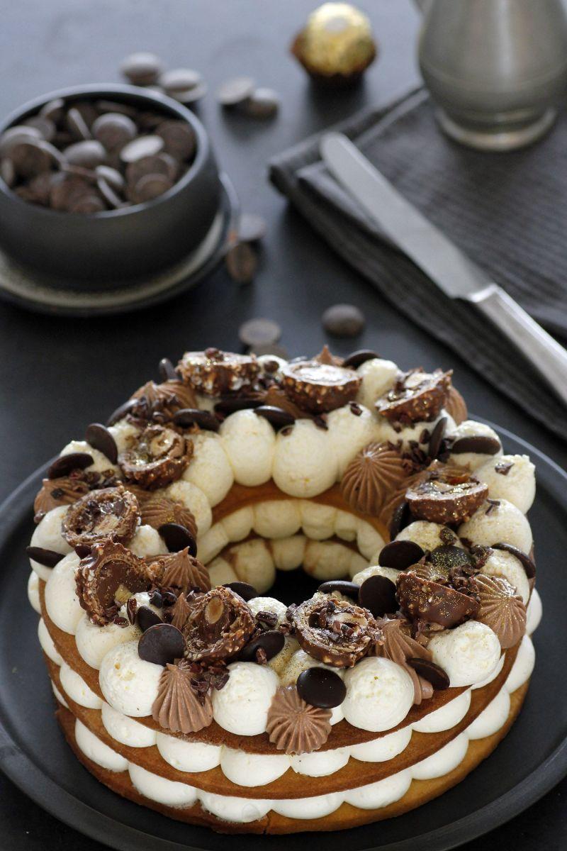 Ferrero Rocher Cream Tart Number Cake