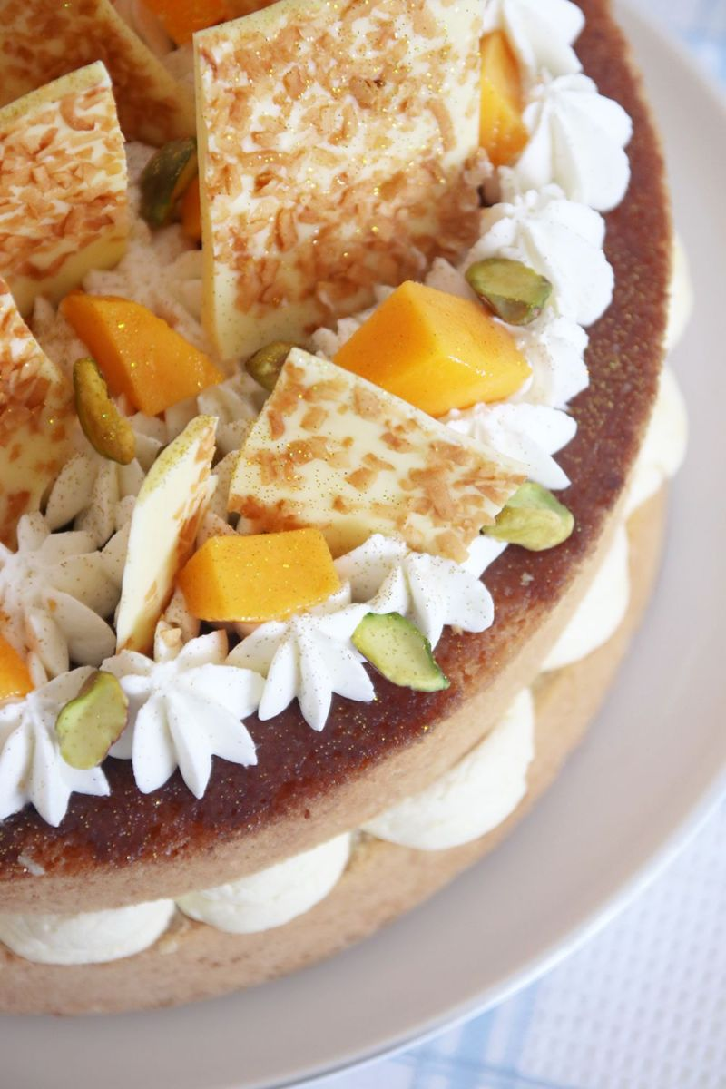 Tropical Layer Cake with Mango, Coconut and Pineapple